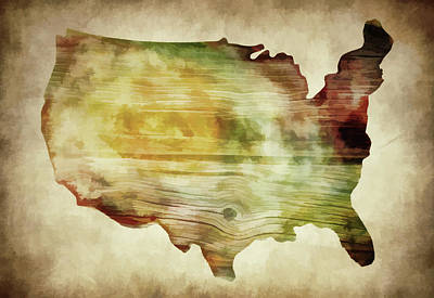 Photograph - United States Map Wooden by Athena Mckinzie