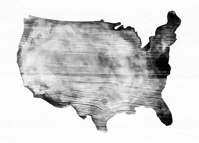 Photograph - United States Map Wooden Bw by Athena Mckinzie
