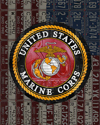 Armed Forces Mixed Media - United States Marine Corps Logo Vintage Recycled License Plate Art by Design Turnpike