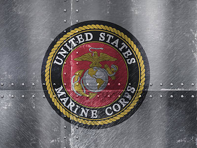 Marines Mixed Media - United States Marines Logo On Riveted Steel by Design Turnpike