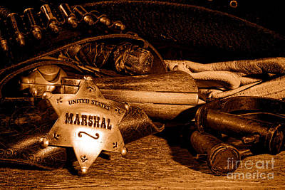 United States Marshall Shield - Sepia  Art Print by Olivier Le Queinec