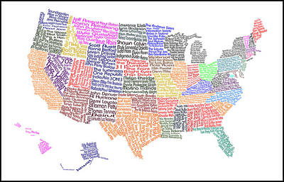 Music Map Digital Art - United States Musicians Map by Trudy Clementine