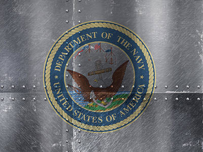Us Navy Mixed Media - United States Navy Logo On Riveted Steel Boat Side by Design Turnpike