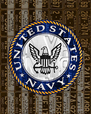 Armed Forces Mixed Media - United States Navy Logo Recycled Vintage License Plate Art by Design Turnpike