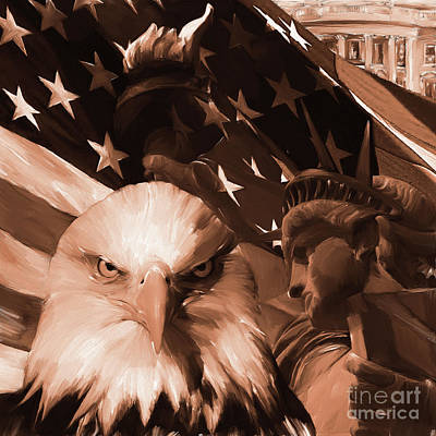 American Eagle Painting - United States Of America 021 by Gull G