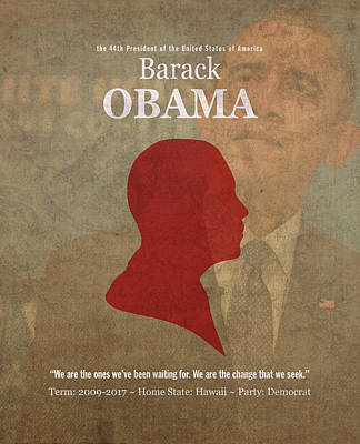 United States Of America President Barack Obama Facts Portrait And Quote Poster Series Number 44 Art Print by Design Turnpike