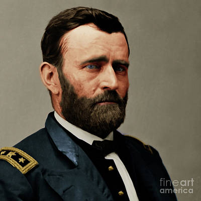 United States Of America President General Ulysses S Grant 20170521 Painterly Style Square Art Print by Wingsdomain Art and Photography