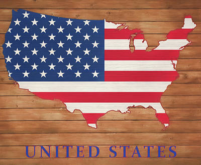 Mixed Media - United States Rustic Map On Wood by Dan Sproul