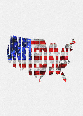 Tourism Digital Art - United States Typographic Map Flag by Inspirowl Design