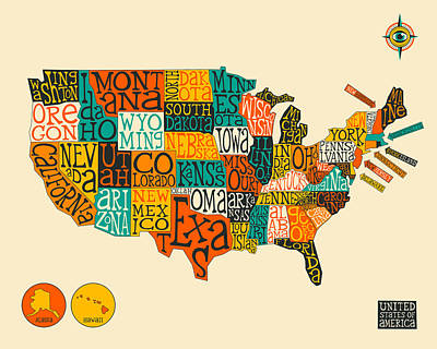 Typography Map Digital Art - United States Map Typography by Jazzberry Blue