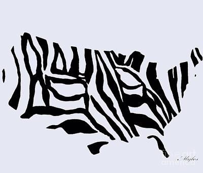 Painting - United States Zebra Map by Saundra Myles