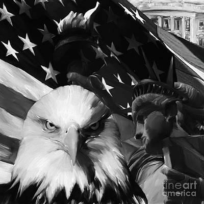 Usa Flag Painting - Unites States  by Gull G