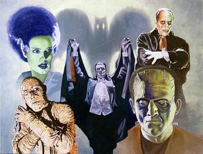 Bela Painting - Universal Monsters by Ken Bruzenak