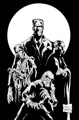 Dracula Drawing - Universal Monsters by Paul Davidson