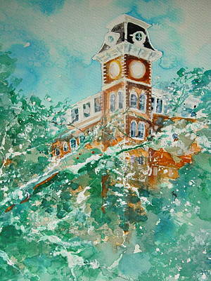 University Of Arkansas Wall Art - Painting - Ice On Old Main by Robin Miller-Bookhout