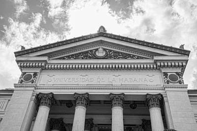 Photograph - University Of Havana Black And White by Sharon Popek