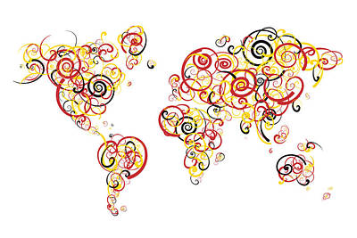 Pride Digital Art - University Of Maryland Colors Swirl Map Of The World Atlas by Jurq Studio
