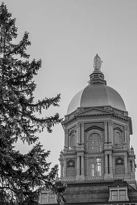 Photograph - University Of Notre Dame Dome Black And White  by John McGraw