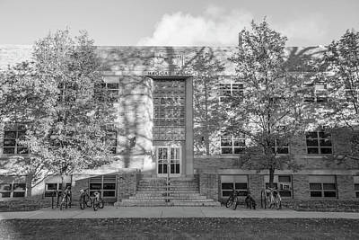 Photograph - University Of Notre Dame Hagger Hall Black And White  by John McGraw