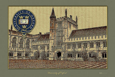 Digital Art - University Of Oxford Magdalen College Building Overlaid With Official 3d Seal - Coat Of Arms by Serge Averbukh