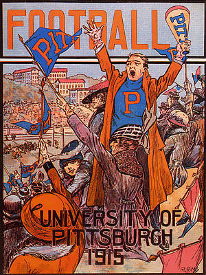 University Of Pittsburgh  Football Program 1915 Art Print by Mountain Dreams