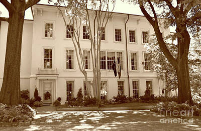 Photograph - University Of South Carolina President's Residence In Sepia Tones by Skip Willits