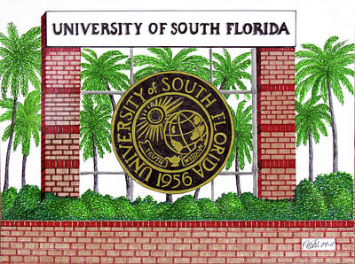 Drawing - University Of South Florida by Frederic Kohli
