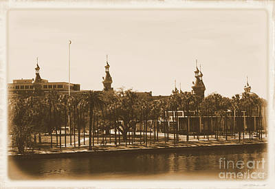 Old Postcard Framing Digital Art - University Of Tampa - Old Postcard Framing by Carol Groenen