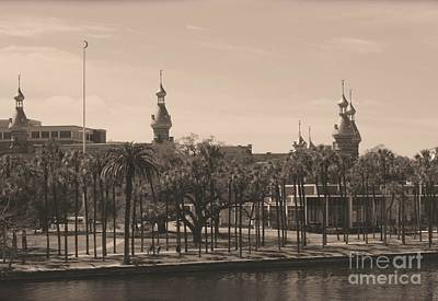 Old Postcard Framing Digital Art - University Of Tampa With Old World Framing by Carol Groenen