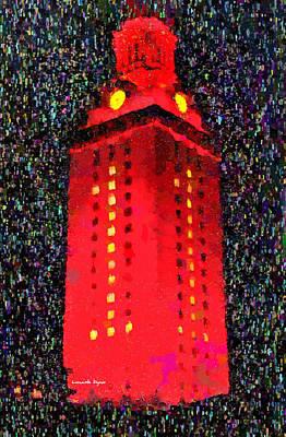 Long Street Digital Art - University Of Texas At Austin Tower 11 - Da by Leonardo Digenio