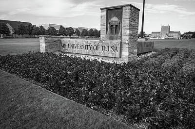 Oklahoma University Wall Art - Photograph - University Of Tulsa Landscape - Black And White by Gregory Ballos