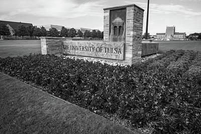 Oklahoma University Photograph - University Of Tulsa Landscape - Black And White by Gregory Ballos