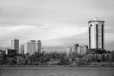 Arkansas Photograph - University Tower And Downtown Tulsa Skyline Black And White by Gregory Ballos