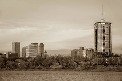 Photograph - University Tower And Downtown Tulsa Skyline Sepia by Gregory Ballos