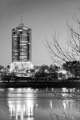 Photograph - University Tower Reflections At Dawn - Tulsa Oklahoma - Black And White by Gregory Ballos