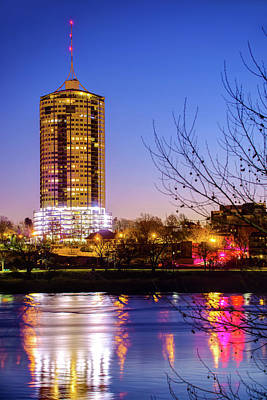 Photograph - University Tower Reflections At Dawn - Tulsa Oklahoma by Gregory Ballos