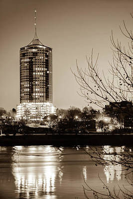 Photograph - University Tower Reflections At Dawn - Tulsa Oklahoma - Sepia by Gregory Ballos