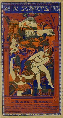 Orgy Painting - Unknown by Poster for the 1913 Ecole nationale superieure des Beaux-Arts Paris annual ball