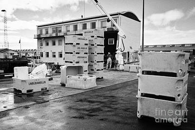Icelandic Fish Photograph - Unloading Fish Boxes From Fishing Boats In Reykjavik Harbour Iceland by Joe Fox