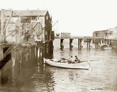 Photograph - Unloading Small Fishing Boat At Fisherman's Wharf  1920 by California Views Mr Pat Hathaway Archives