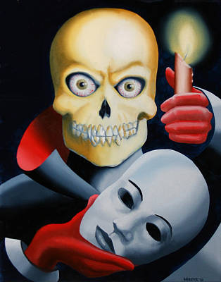 Unmasked - Skull Oil Painting Art Print by Mark Webster