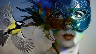Beautiful Woman Mixed Media - Unmasking by Marvin Blaine