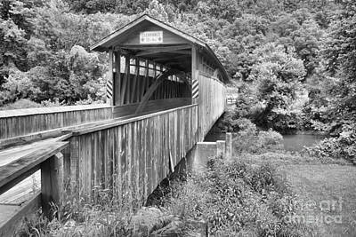 Photograph - Unpainted Claycomb Covered Bridge Black And White by Adam Jewell