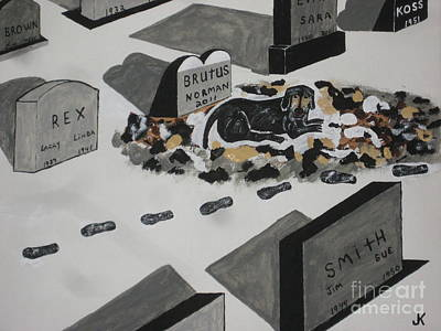 Grave Yard Painting - Unselfish Friend Even In Death by Jeffrey Koss