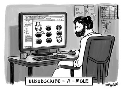 Mole Drawing - Unsubscribe A Mole by Sam Marlow