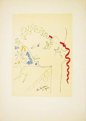 Mourlot Painting - Untitled 19 by Jean Cocteau