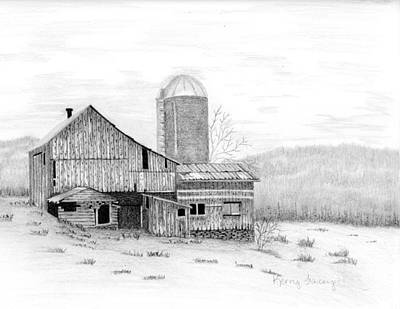 Old Barn Drawing - Old Van Etten Barn by Kerry Facey