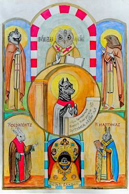 Saint Painting - Untitled Animal Saints by Josean Rivera