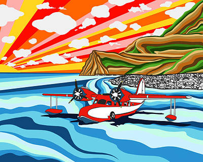 Abstract Beach Landscape Digital Art - Seaplane 2 by Carlos Martinez
