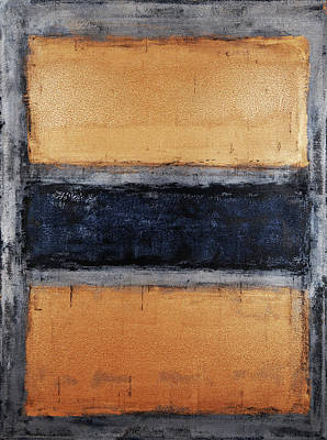 Abstract Art Painting - Untitled Copper And Blue by Julie Niemela